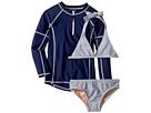 Toobydoo Toobydoo Sweet Nautical Stripe Bikini Rashguard Set (Infant/Toddler/Little Kids/Big Kids)