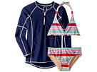 Toobydoo Toobydoo Fun Multi Stripe Bikini Rashguard Set (Infant/Toddler/Little Kids/Big Kids)
