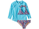 Toobydoo Toobydoo Funky Feathers Bikini Aqua Rashguard Set (Infant/Toddler/Little Kids/Big Kids)