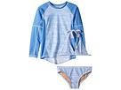 Toobydoo Toobydoo Blue White Stripe Bikini Rashguard Set (Infant/Toddler/Little Kids/Big Kids)
