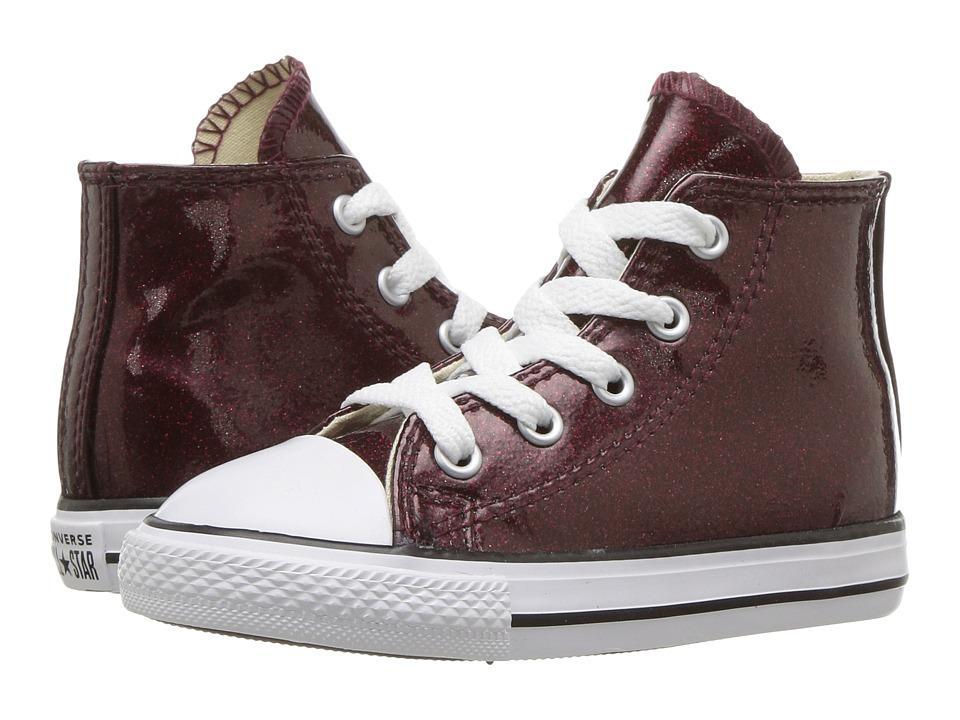 Converse Kids Chuck Taylor(r) All Star(r) Glitter Hi (Infant/Toddler) (Dark Burgundy/Natural/White) Girl
