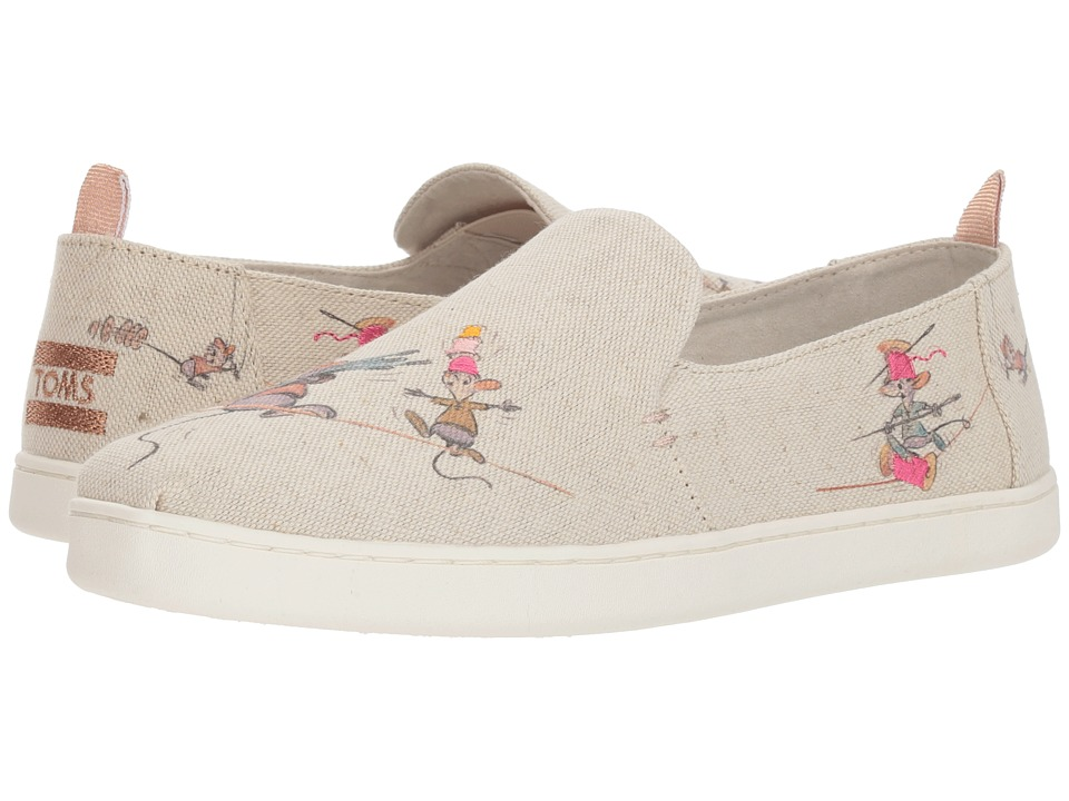 TOMS Disney Deconstructed Alpargata (Taupe Gus & Jaq Canvas) Slip-On Shoes