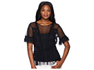 Vince Camuto Vince Camuto Tiered Ruffle Sleeve Hem Mesh Blouse