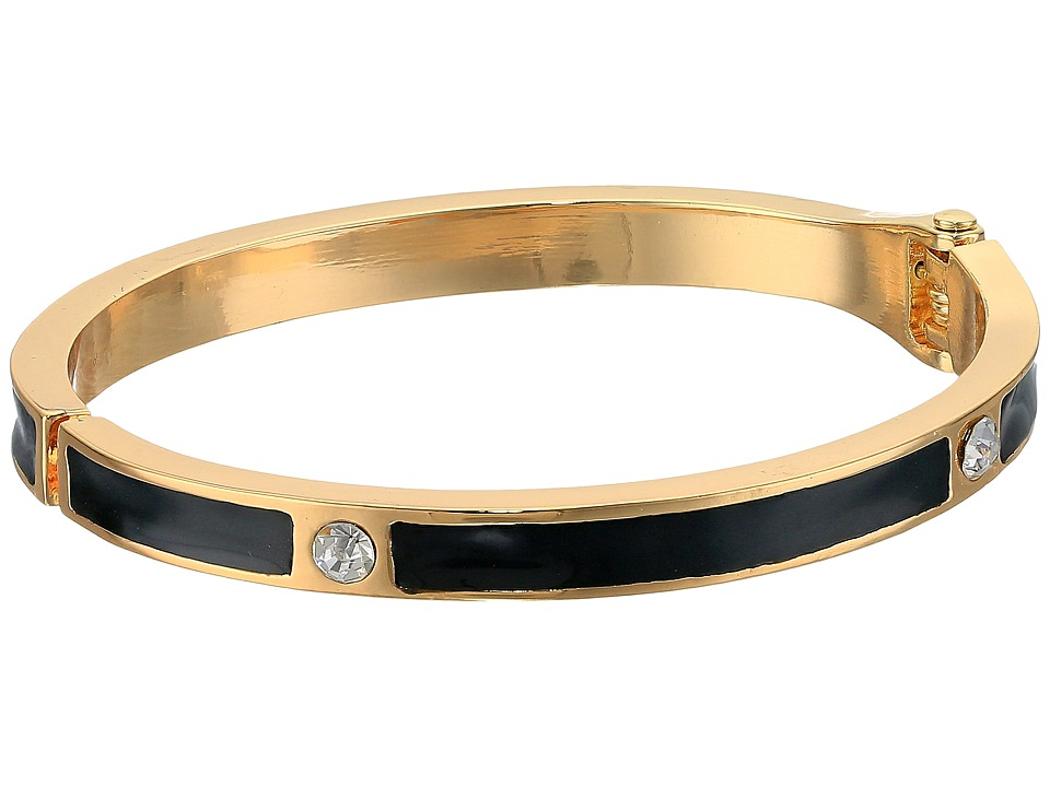 GUESS - Hinged Enamel Bracelet with Crystal Accents (Gold/Crystal/Black) Bracelet