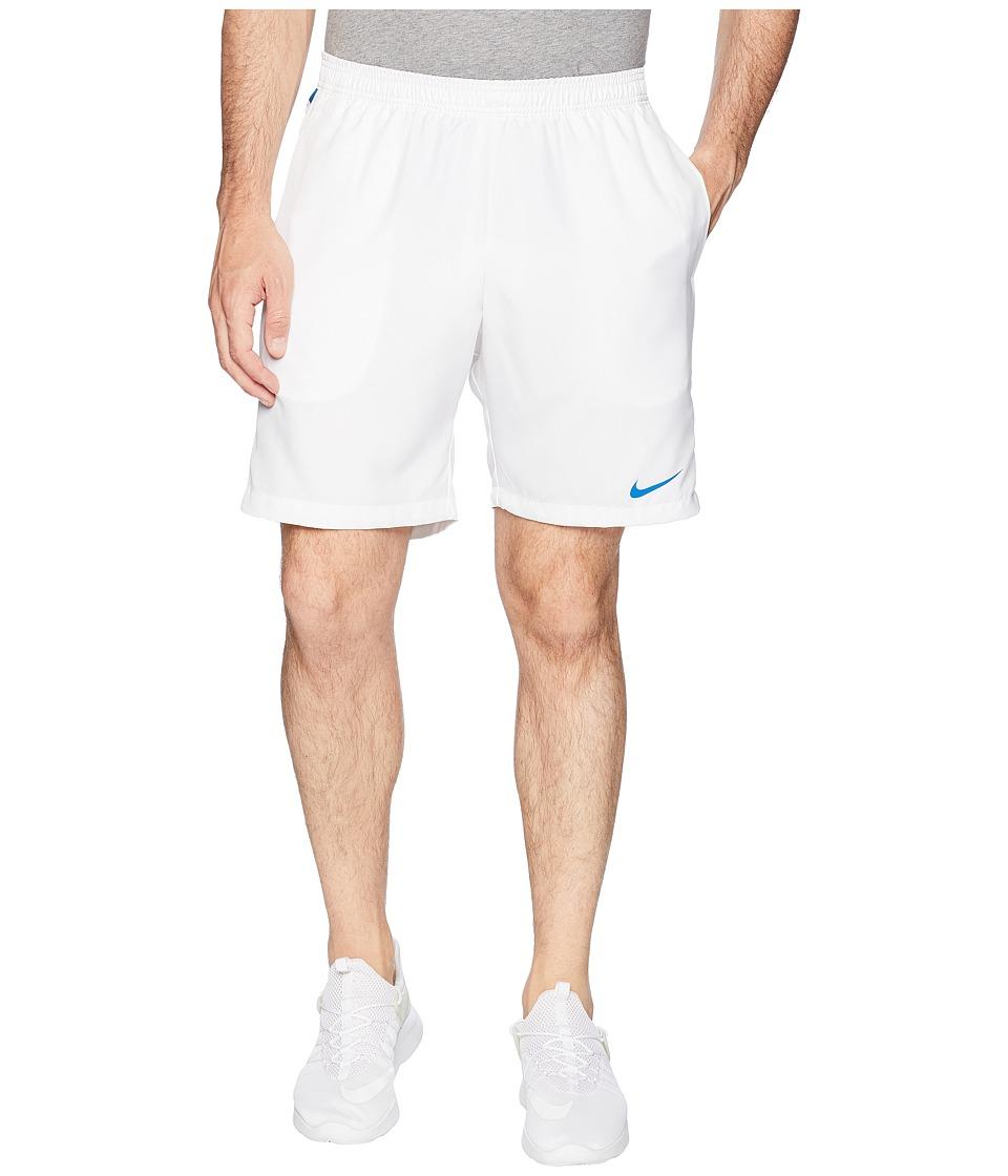 Nike Court Dry 9 Tennis Short (White/Military Blue/Military Blue) Men