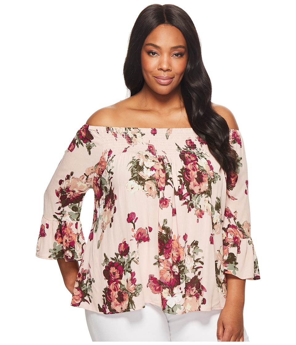 KARI LYN - Plus Size Madelyn Off the Shoulder Floral Top (Pink) Womens Clothing