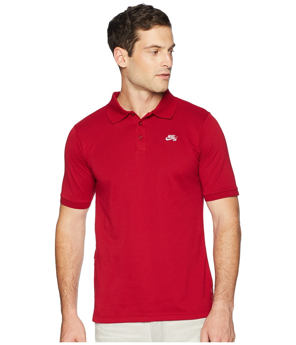 Nike SB SB Dri-FITtm Pique Polo (Red Crush/White) Men