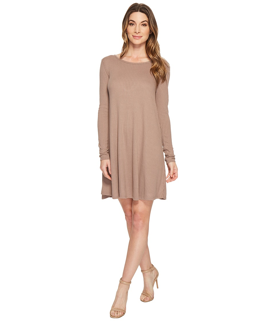 American Rose - Amelia Long Sleeve Ribbed Dress with Open Back