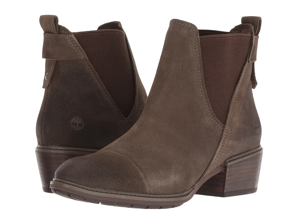 Timberland Sutherlin Bay Double Gore Chelsea (Olive Suede) Women's Pull-on Boots
