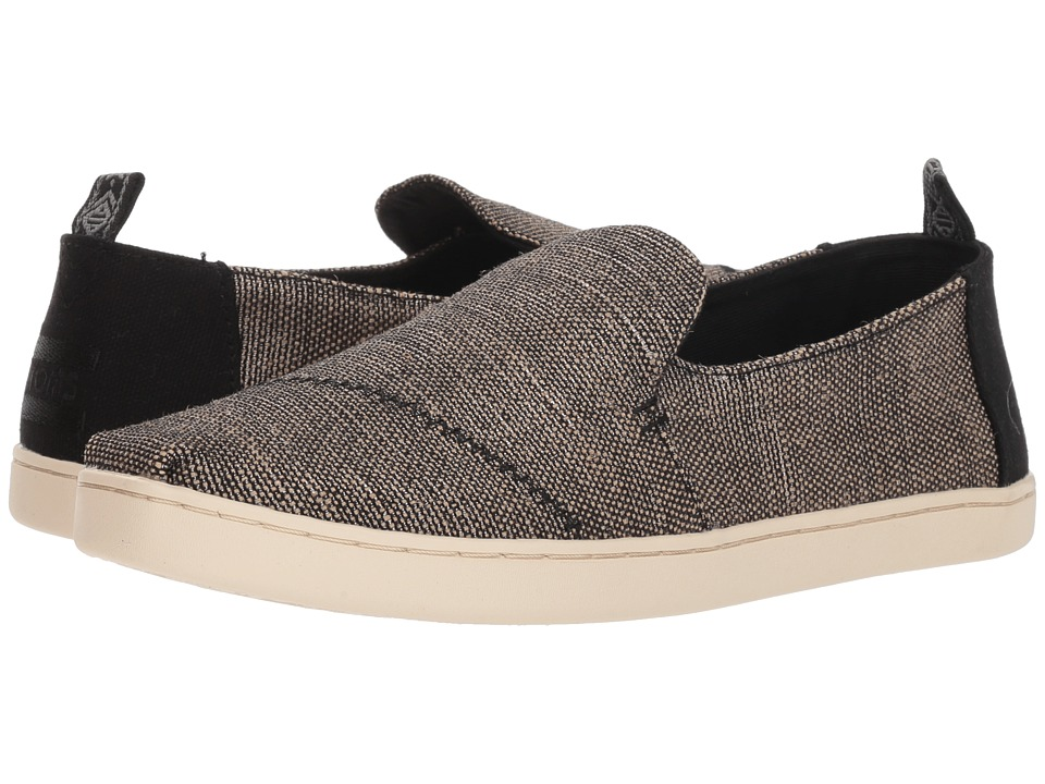TOMS Deconstructed Alpargata (Black Metallic Woven) Slip-On Shoes