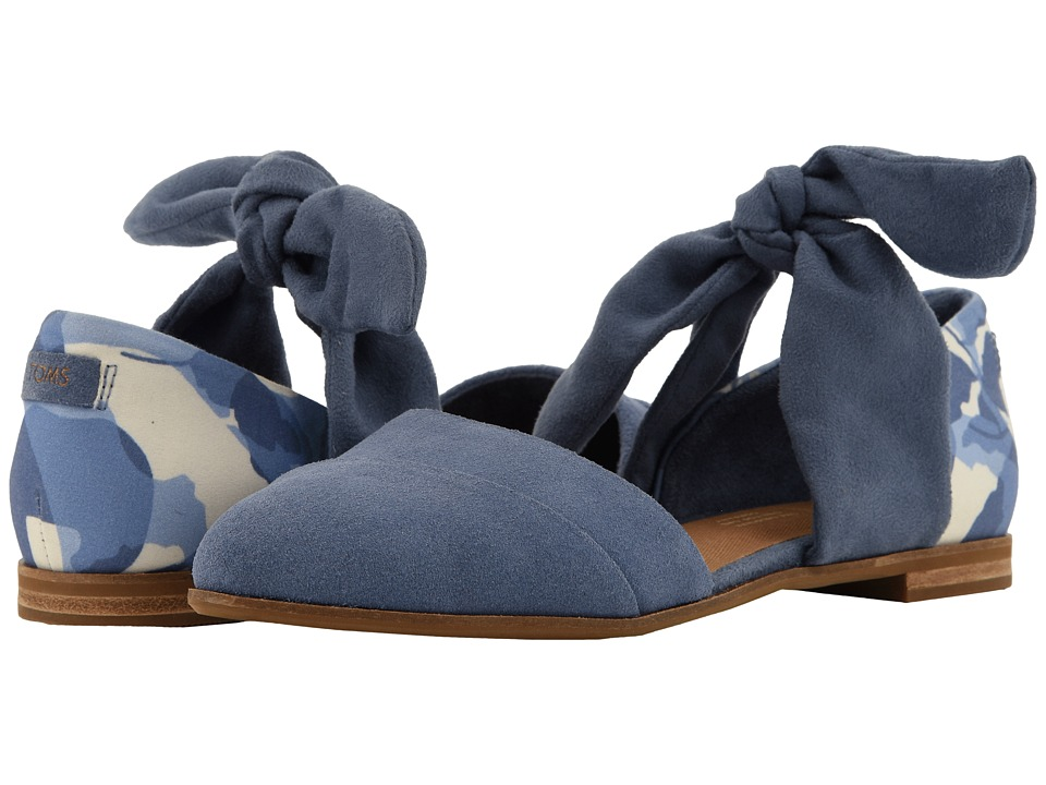 TOMS Jutti D'orsay (Infinity Blue Suede/Abstract Leaf/Bow) Flats