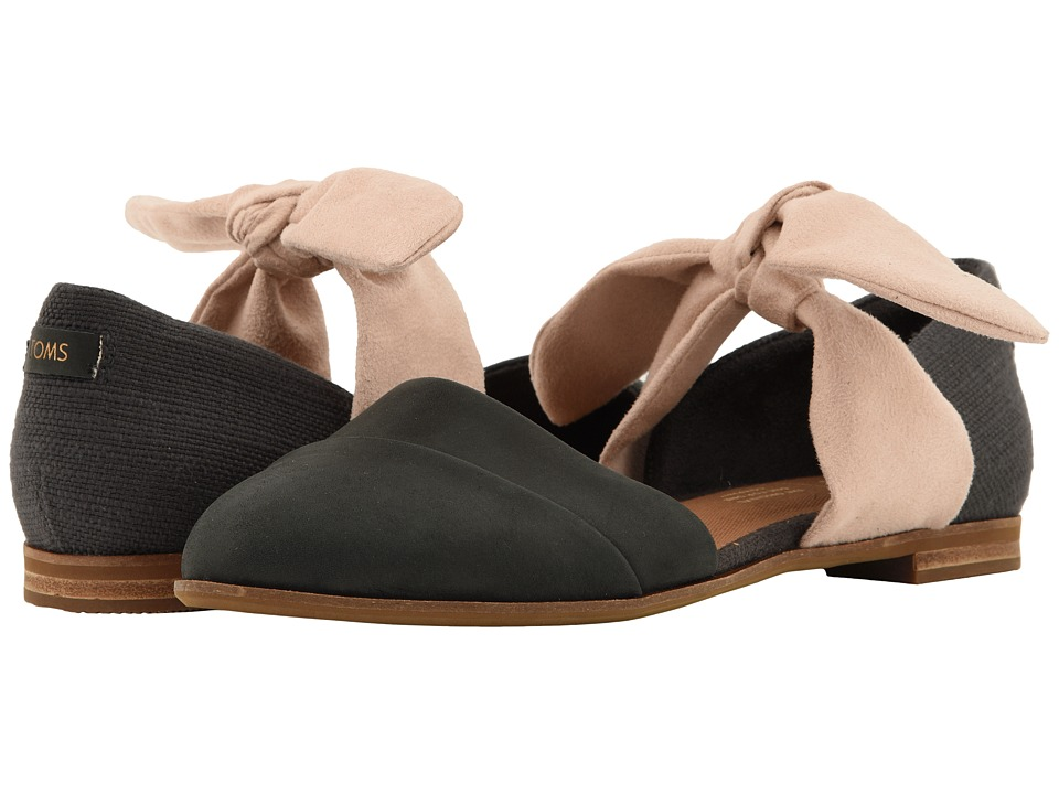 TOMS Jutti D'orsay (Black Leather/Forged Iron Slubby Cotton/Bow) Flats