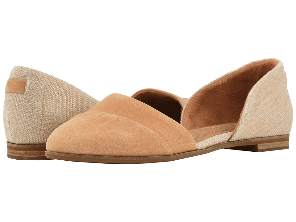 TOMS Jutti D'orsay (Honey Leather/Rose Gold Metallic Woven) Flats