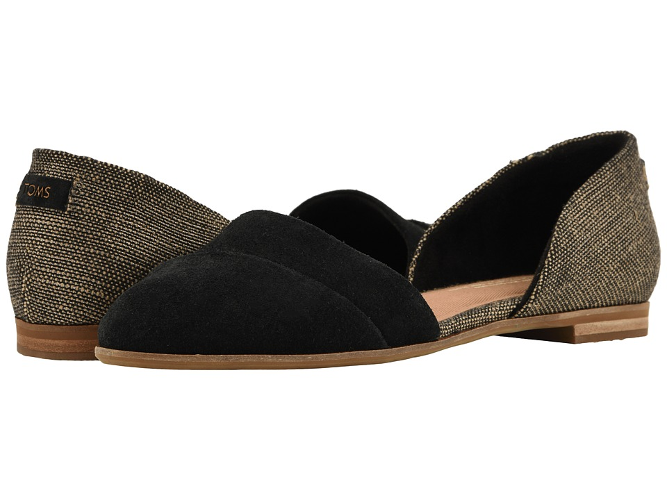 TOMS Jutti D'orsay (Black Suede/Metallic Woven) Flats