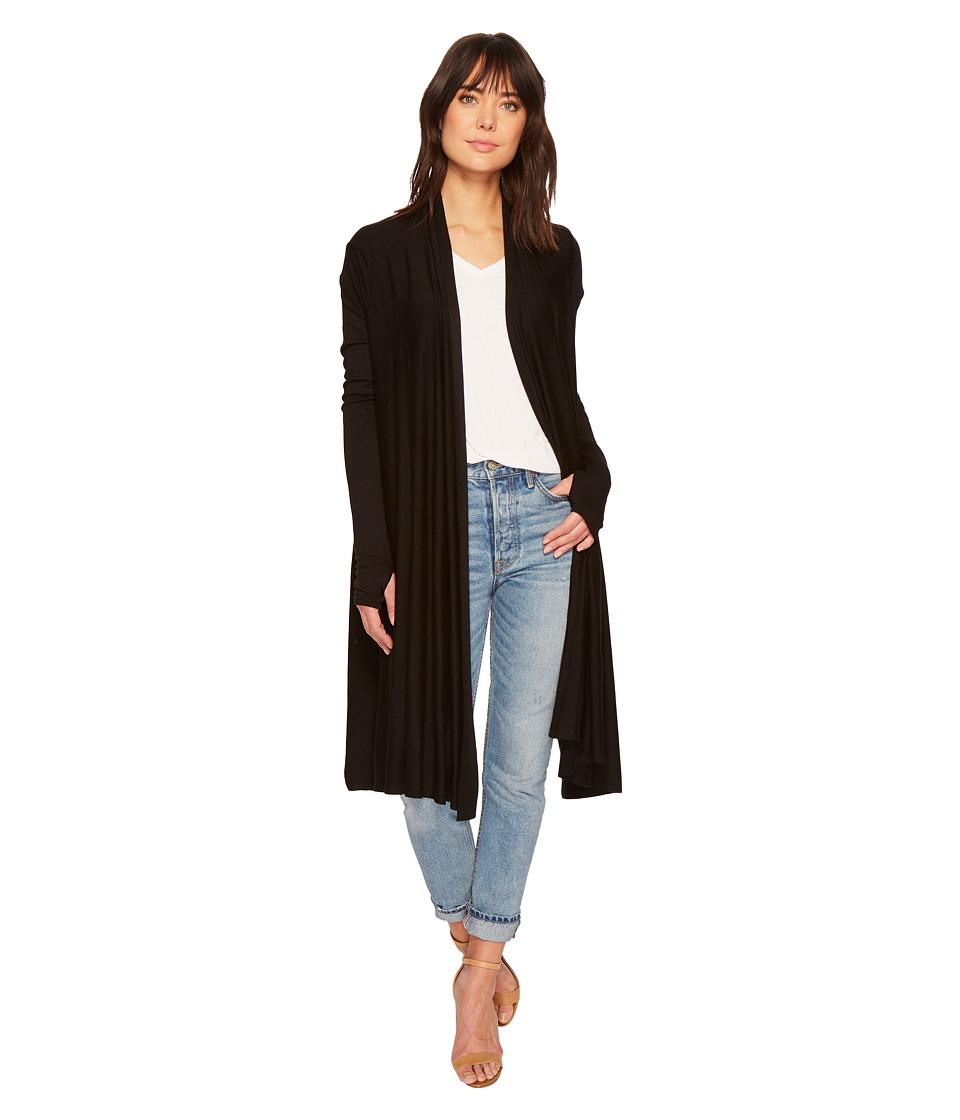 LA Made Waterfall Cardigan Wrap (Black) Women's Sweater