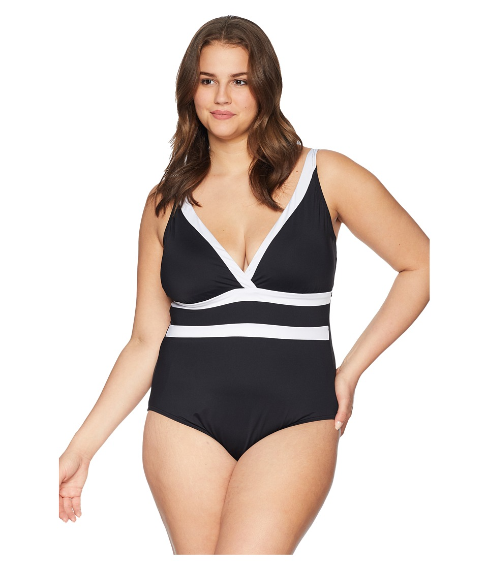 La Blanca - Plus Size Modern Muse Plunge Mio One-Piece (Black/White) Womens Swimsuits One Piece