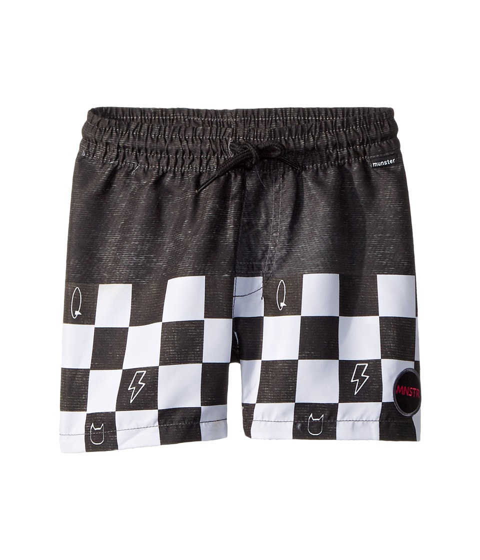 Munster Kids - Wall Ride Shorts (Toddler/Little Kids/Big Kids) (Black Check) Boys Swimwear