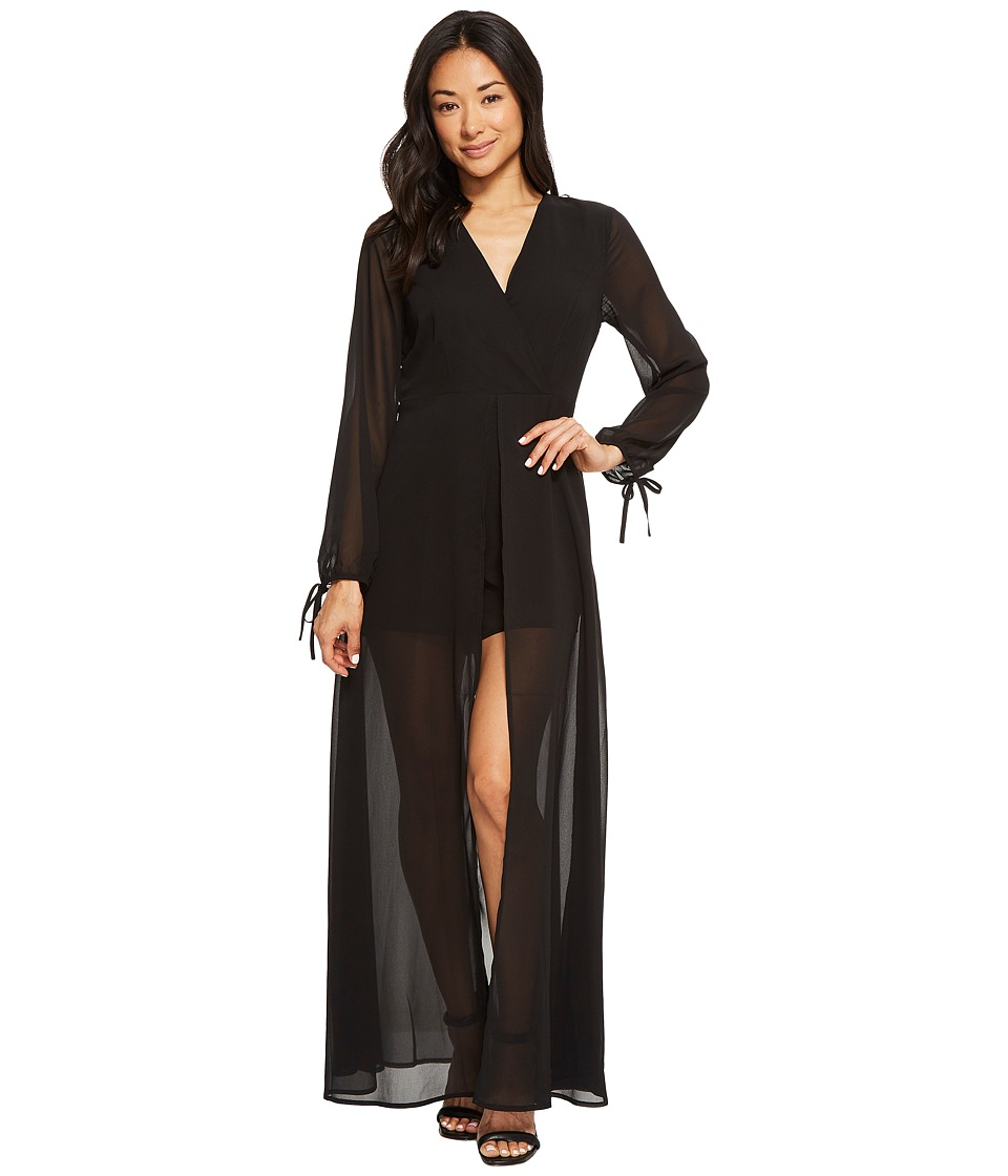 American Rose - Leah V-Neck Long Sleeve Romper (Black) Wo...