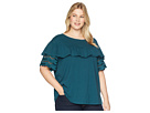 B Collection by Bobeau Plus Size Brynlee Lace Trim Tee