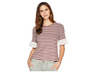 B Collection by Bobeau Shay Stripe Tee with Lace Sleeve