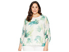 Vince Camuto Specialty Size Plus Size Drawstring Sleeve Sunlit Palm Print Blouse