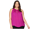 Vince Camuto Specialty Size Plus Size Sleeveless Rumple Keyhole Halter Blouse