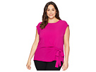 Vince Camuto Specialty Size Plus Size Short Sleeve Mix Media Tie Front Blouse