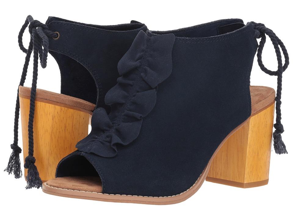 TOMS Elba (Navy Suede/Raffle) High Heels