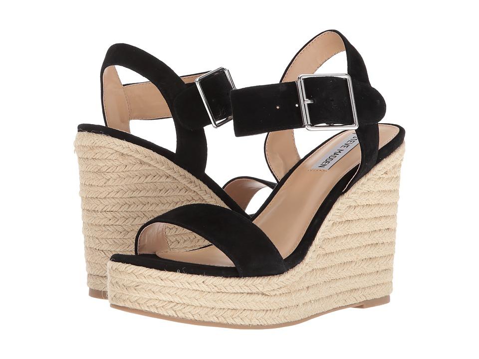 Steve Madden Santorini Espadrille Wedge Sandal (Black Suede) Women's Shoes