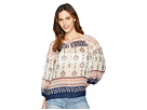 TWO by Vince Camuto Tile Wildflower Tie Neck Peasant Blouse