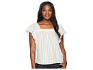 TWO by Vince Camuto Metallic Stripe Ruffle Sleeve Blouse