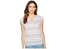 TWO by Vince Camuto Extend Shoulder Multi Stripe Jacquard V-Neck Blouse