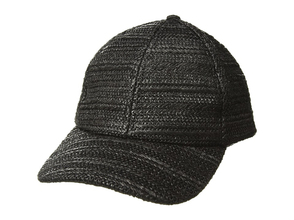 BCBGMAXAZRIA - Natural Texture Baseball Hat (Black) Baseball Caps