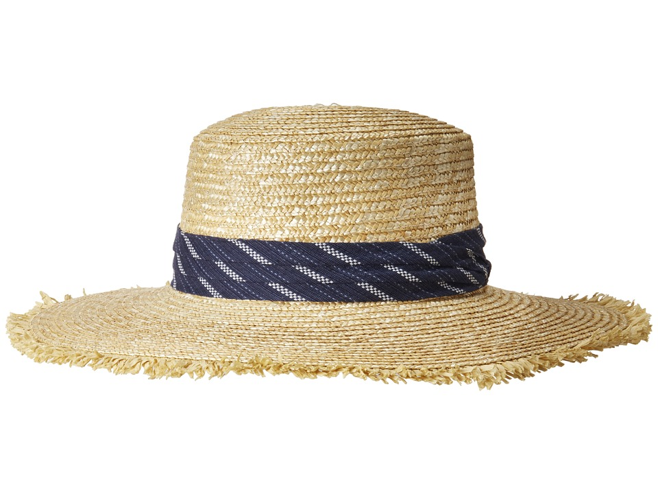 BCBGMAXAZRIA - Denim Banded Boater (Natural) Caps