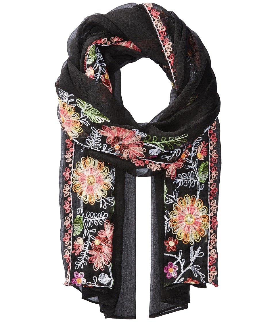 Collection XIIX - Pretty Embroidered Wrap (Black Bright) Scarves