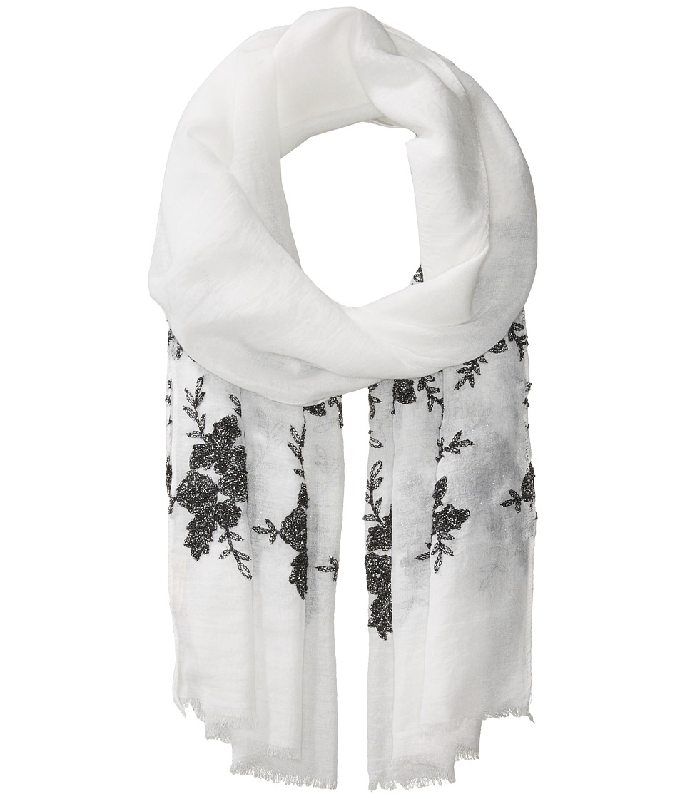 Collection XIIX - Sparkling Floral Wrap (White/Black) Scarves