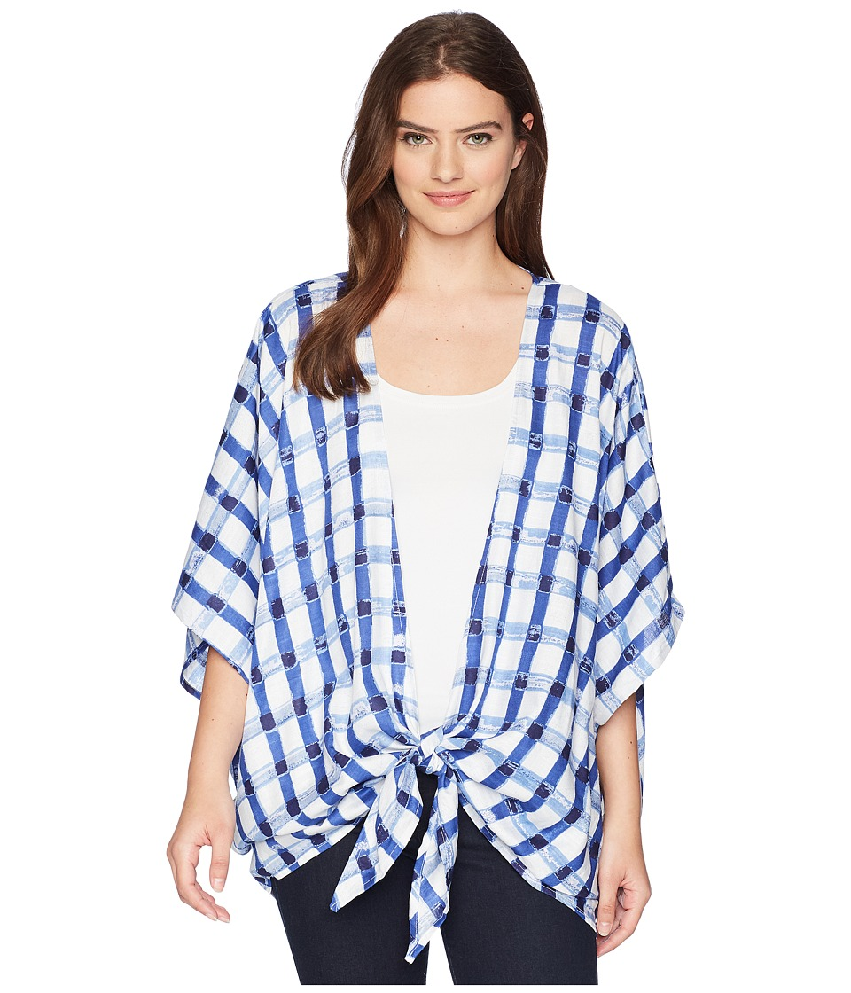 Collection XIIX - Watercolor Gingham Kimono (Dark Chambray) Womens Clothing