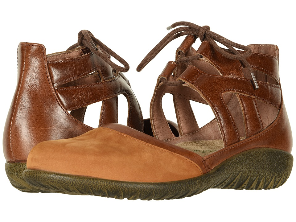 Naot Kata (Amber Nubuck/Maple Brown Leather) Women's Shoes