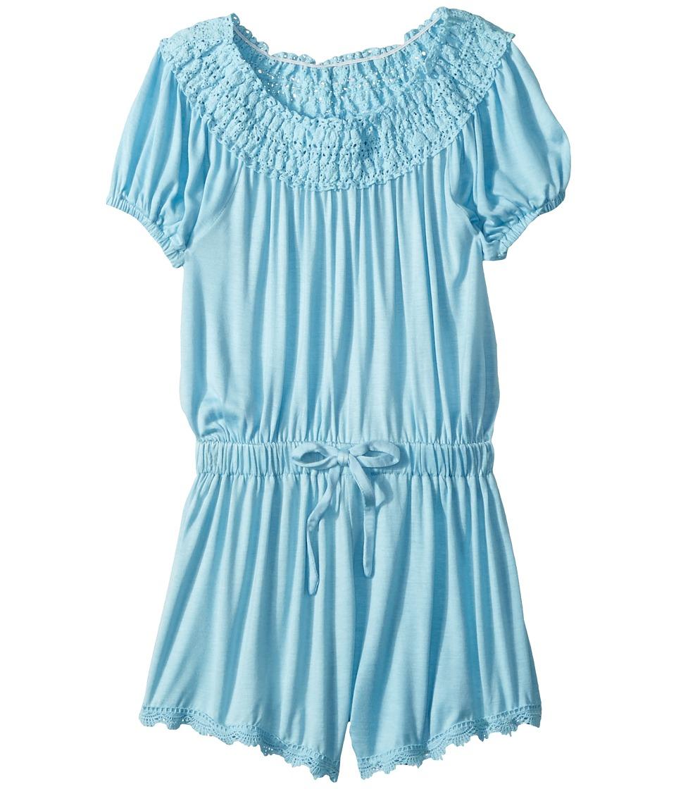 Ella Moss Girl - Crochet Fringe Trimp Romper (Big Kids) (Sky Blue) Girls Jumpsuit & Rompers One Piece