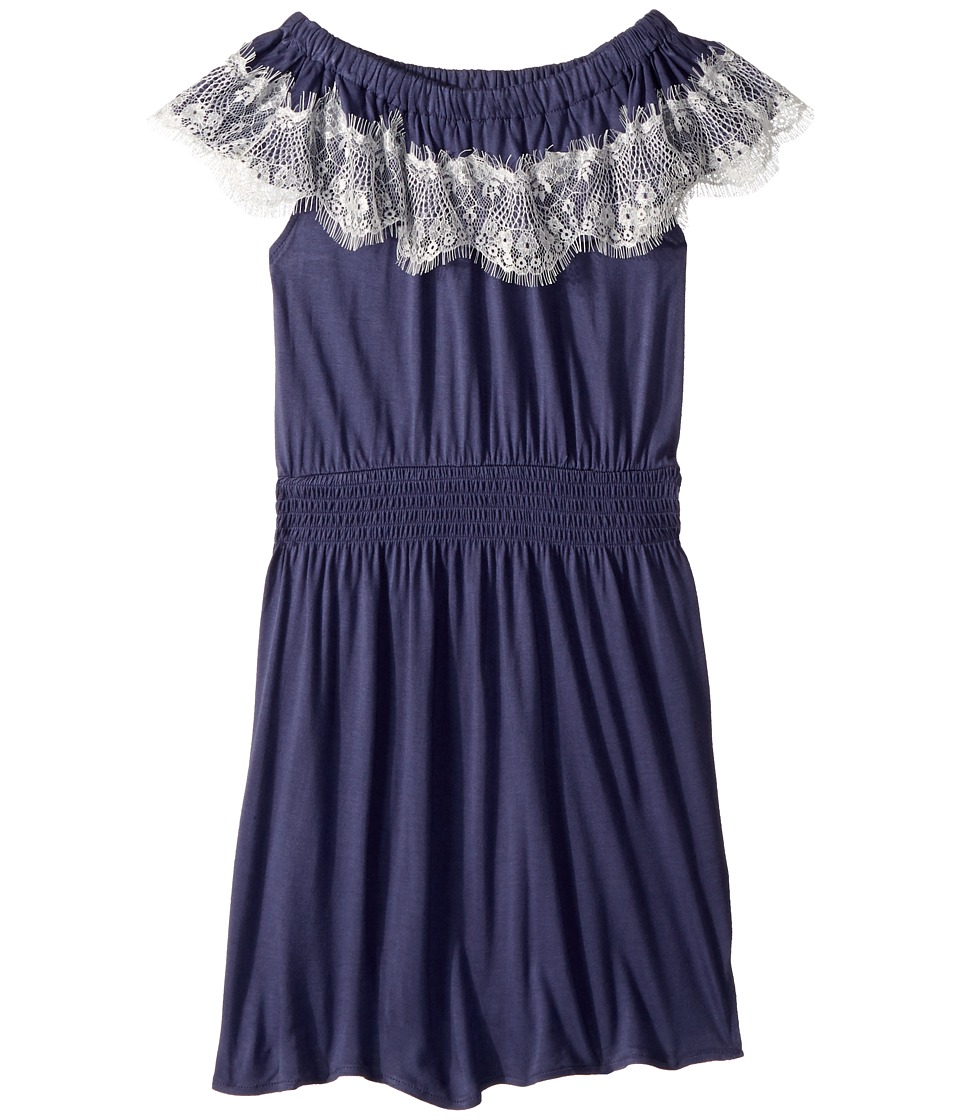 Ella Moss Girl - Lace Trim Jersey Dress (Big Kids) (Crown Blue) Girls Dress