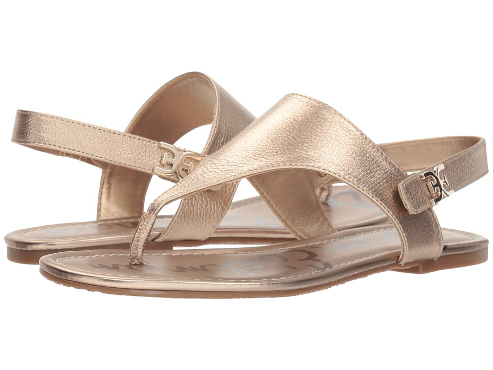 Sam Edelman Cason (Dark Molten Gold Tumbled Opal Metallic Leather) Sandals