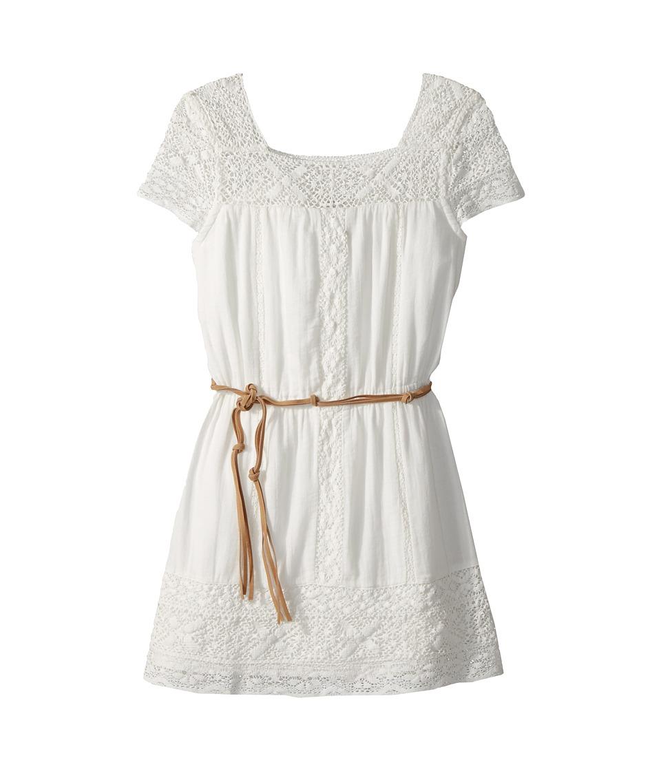 Ella Moss Girl - Crochet Dress with Faux-Leather Belt (Big Kids) (Full Sail) Girls Dress