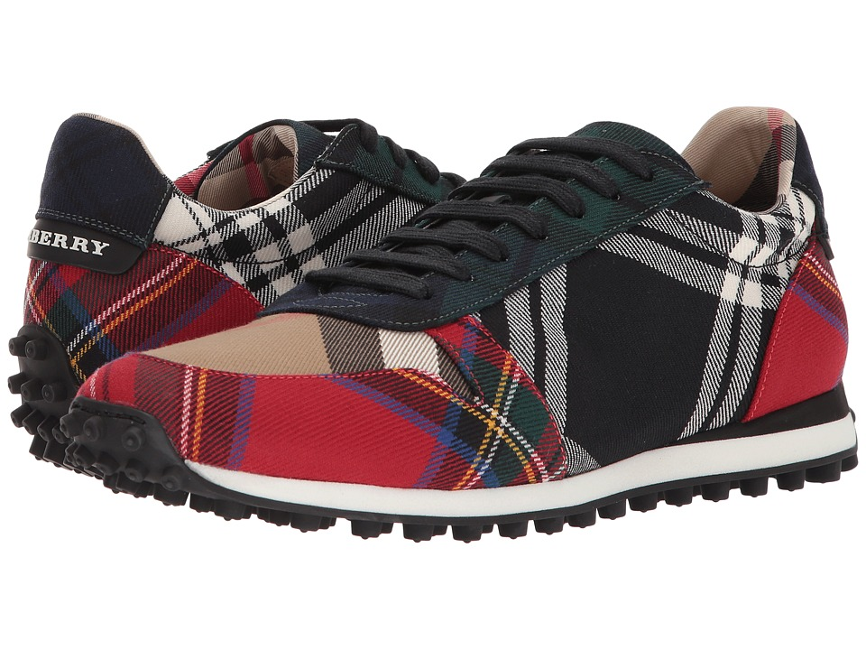 Burberry - Travis Tartan Sneaker (Black/Bright Red 1) Mens Shoes