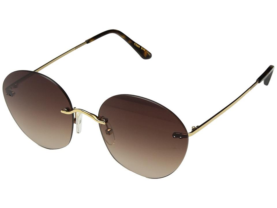 Unique Retro Vintage Style Sunglasses & Eyeglasses TOMS - Clara Shiny Gold Fashion Sunglasses $149.00 AT vintagedancer.com