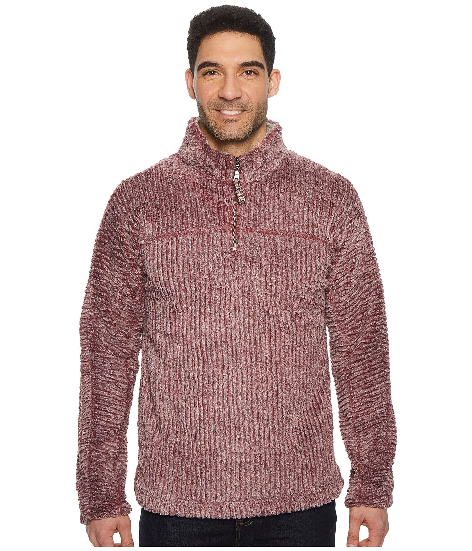 True Grit - Frosty Cord Pile 1/4 Zip Pullover (Wine) Mens Clothing
