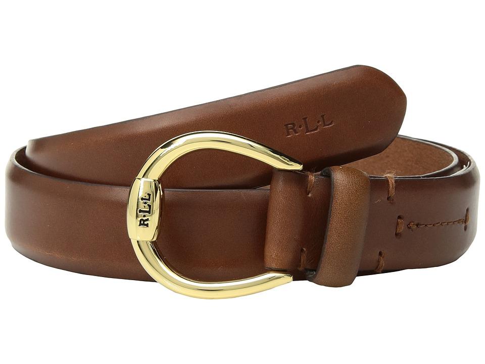 LAUREN Ralph Lauren 1 Bennington Equestrian Belt on Smooth Strap (Tan) Women