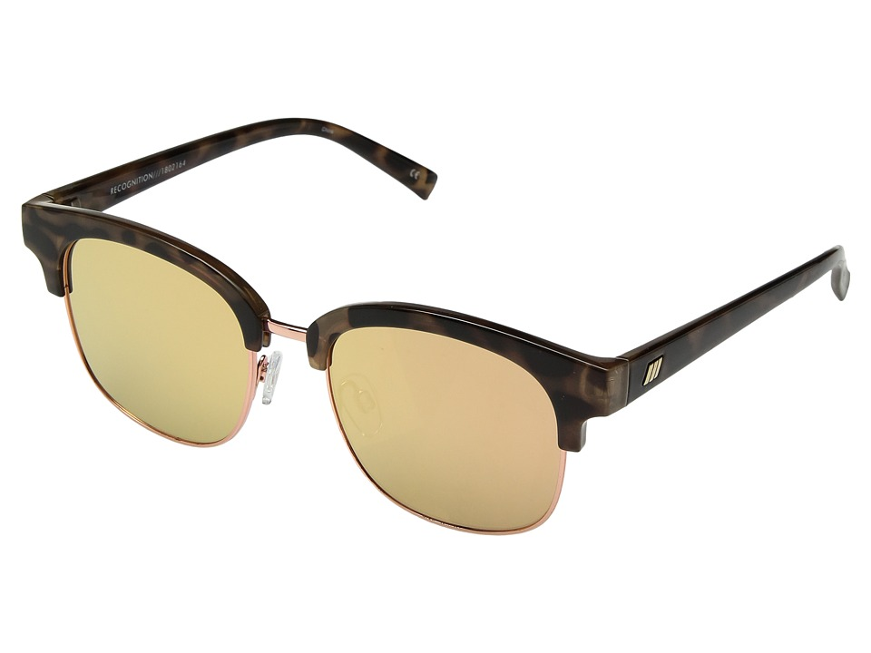 Le Specs - Recognition (Apricot Tort/Brass Revo Mirror) Fashion Sunglasses
