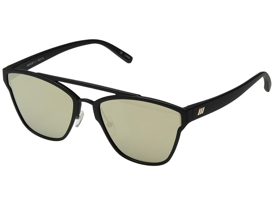 Le Specs Herstory (Black Rubber/Gold Revo) Fashion Sunglasses