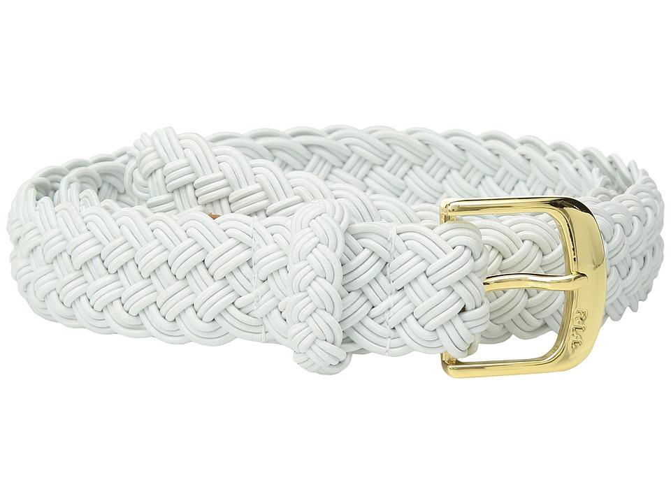 LAUREN Ralph Lauren 1 1/4 Woven Elastic Stretch Belt with Roller Engraved Buckle (White) Women