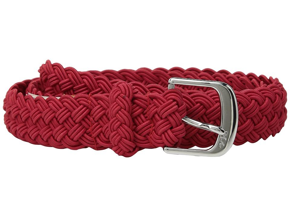 LAUREN Ralph Lauren 1 1/4 Woven Elastic Stretch Belt with Roller Engraved Buckle (Red) Women